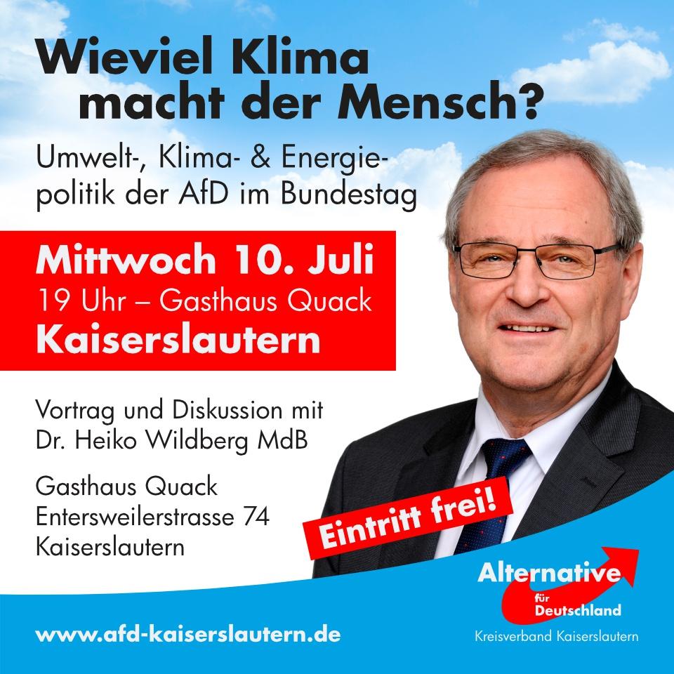 Vortrag mit Dr. Heiko Wildberg MdB, Afd-Kaisersllautern